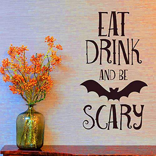 Rureng Essen Trinken Be Scary Zitate Wandaufkleber Halloween Party Decals Home Zimmer Dekoration Wandaufkleber Abnehmbare Diy Wandaufkleber