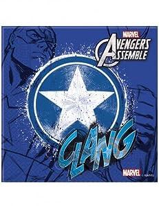 Unique Party Adolescentes Marvel Avengers Assemble Servilletas De Papel, Paquete de 20 Incluye Capitán América