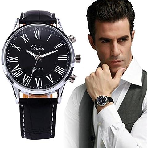 Tongshi nuevos hombres de lujo sf aux cuero de cuarzo analógico reloj de pulsera negro