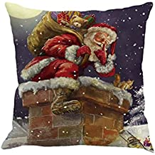 Fundas De Cojines, Xinan Navidad de impresión de teñido sofá cama Decoración del hogar Funda de almohada (Q)