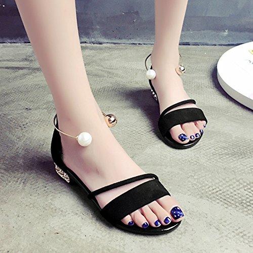 XY&GKDonna Sandali studentesse in Roma sandali estivi scarpe piatte All-Match tacco piatto scarpe, 40, cachi,con il migliore servizio 35black