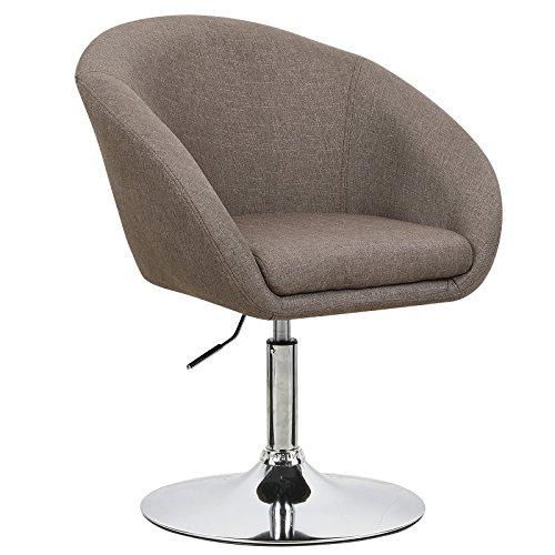 WOLTU BH61br-1 Barhocker 1 Stück, stufenlose Höhenverstellung , verchromter Stahl , Leinen , gut gepolsterte Sitzfläche mit Armlehne und Rücklehne, Braun (Drehsessel-leder-sessel Und Hocker)