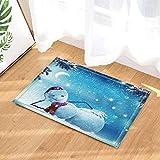 gohebe Winter-Deko für Kinder mit sowman zu Weihnachten-in-Bad-Teppich Rutschfest Fußabtreter mit Entryways Innen-Tür-Matte für Kinder Badteppich mit X-23.6in Badezimmer Zubehör
