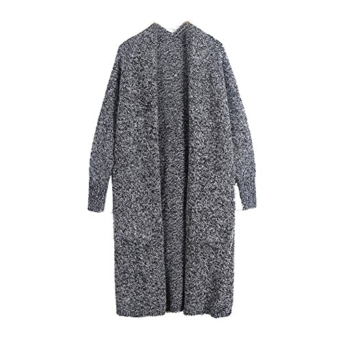YOUJIA Femmes Long Tricoté à Manches Longues Cardigan Coat Jacket Loose Chandail Sweater avec Poches Gris foncé