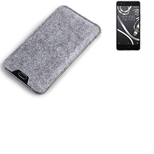 K-S-Trade Filz Schutz Hülle für BQ Readers Aquaris X5 Cyanogen Schutzhülle Filztasche Filz Tasche Case Sleeve Handyhülle Filzhülle grau