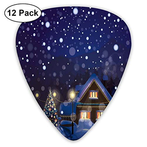 Guitar Picks 12-Pack,Winter Night Country Landscape With Little House Among Pine Trees And Snow Winter Full House