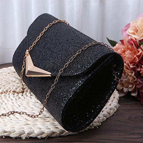 Dairyshop pochette giorno donne borsa da sposa della frizione nuziale partito frizione cerimonia nuziale promenade (Nero) Nero