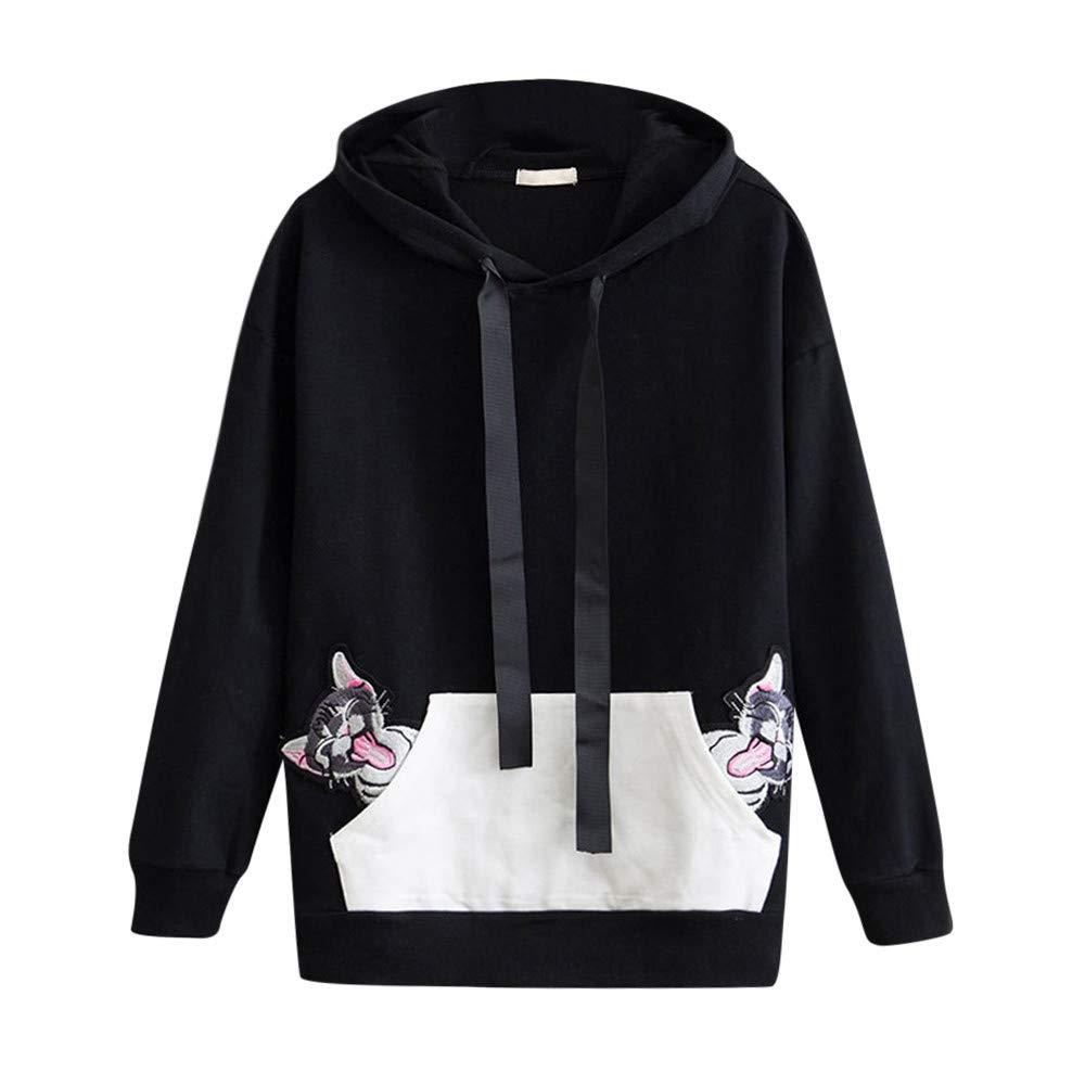 ab89693b30 LILICAT Womens Cute Cat Ears Hoodies Jumper Tunic Sweatshirts Drawstring Hoodies  Pullover With Kangaroo Pockets