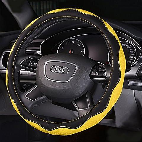 Y & B Automotive Couvre-volant en cuir avec 38cm/38,1cm Diamètre Jaune jaune