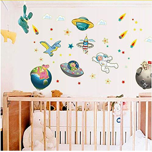 Ljtao Diy Nave Espacial Pegatinas Luminosas Dormitorio De Los Niños Jardín De Infantes De Dibujos Animados Decoración Del Hogar Etiqueta De La Pared60X90Cm