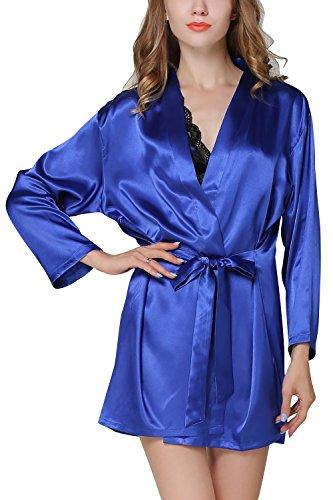 Dolamen Camicia da Notte Donna con Kimono Vestaglia Pigiama , 2-in-1 seta Pigiama Pigiami in Raso, Lusso & Sexy Fiore ricamo Chemise Camicia da notte, biancheria intima pigiameria Blu