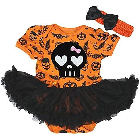 Vestido de Halloween, naranja calabaza Body de tutú de color negro de calavera Baby Set nb-18m
