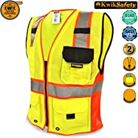 KwikSafety SUPREME | Class 2 Safety Vest | 360° High Visibility Reflective Work Wear | Hi Vis Construction Cycling Motorbike Waistcoat | Men Women Regular to Over Sized Fit | Yellow Red Trim 2XL/3XL
