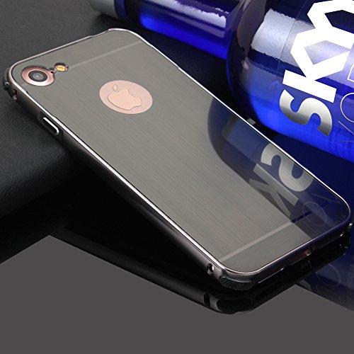 iPhone 7 4.7 Spiegel Hülle,BtDuck Ultra Dünn Luxury Aluminum Überzug Metal Mirror PC Back Case Schutzhülle Slim Telefon-Kasten Handyhülle Mirror Spiegelnd Make Up Stoßdämpfend Protective Case Cover Bu No.2 Schwarz