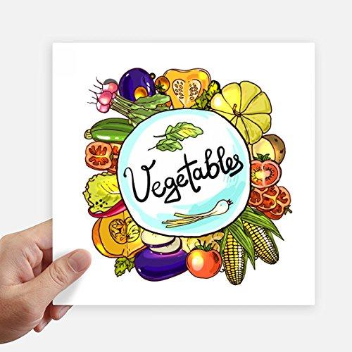 DIYthinker Gemüse Corn Rotish Chinakohl Quadrataufkleber 20Cm Wand Koffer Laptop Motobike Aufkleber 4Pcs 20cm x 20cm Mehrfarbig