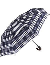 Paraguas Perletti, con apertura y cierre automáticos, antiviento, plegable con mango imitación madera. Ultraligero, extra resistente y compacto. Tela repelente al agua.