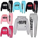 A2Z 4 Kids® Kids Girls Tracksuit Designer's #Selfie Print Fleece Hooded Crop Top Bottom Jogging Suit Joggers Age 5 6 7 8 9 10 11 12 13 Years