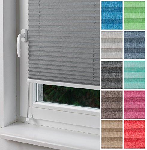 "Home-Vision Plissee Faltrollo ohne Bohren mit Klemmträger / -fix, Kollektion ""Melange"" Leinenoptik (Grau, B90cm x..."