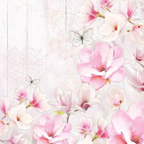Servietten für Decoupage-Papier, 3-lagig, 33 x 33 cm, Magnolien-Garten, 4 einzelne Servietten für Basteln und Serviettenkunst -