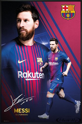Lionel Messi Poster Collage FC Barcelona Saison 2016/2017 (93x62 cm) gerahmt in: Rahmen schwarz