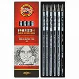 KOH-I-NOOR Progresso Set de crayons sans Bois Graphite(Set de 6)
