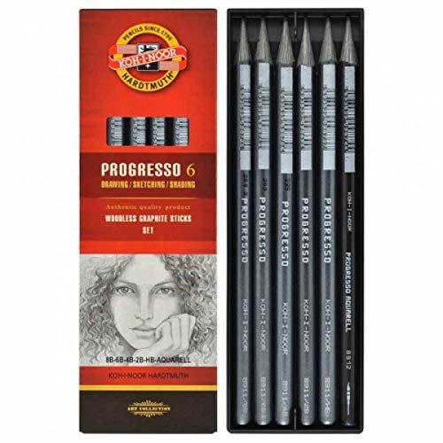 Koh-I-Noor 6 Progresso - Lápices de grafito (6 unidades, sin madera)