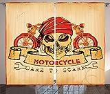 Männliche Decor Vorhänge von ambesonne, Beispiel Totenkopf Classics Motorrad Dare To Scare Spooky Racing Gefahr Thema, Fenster Drapes 2Panel Set für Wohnzimmer Schlafzimmer, 108W x 84L Zoll