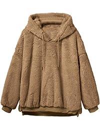 Moda de invierno mujer abrigo cálido estilo lindo, Sonnena ❤️ Abrigo mullido de invierno para mujer Prendas de abrigo de piel de lana Sudadera con capucha