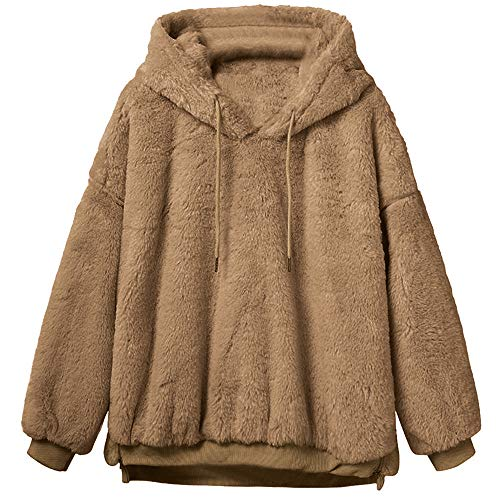 Frauen Wollmantel FRAUIT Damen Einfarbig warme Jacke Flauschige Mantel Fleece Fell Oberbekleidung Sweatshirt Mantel Pullover Damen Mode Elegant Wunderschön Streetwear Freizeit Party Kleidung Cord-mantel