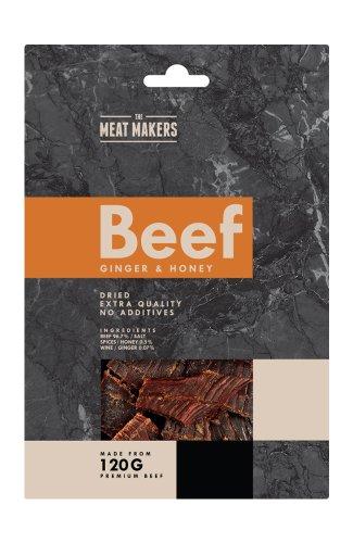 (Packung von 6) GINGER & HONEY - GOURMET BEEF JERKY 40g - Ingwer und Honig Premium-Trockenfleisch