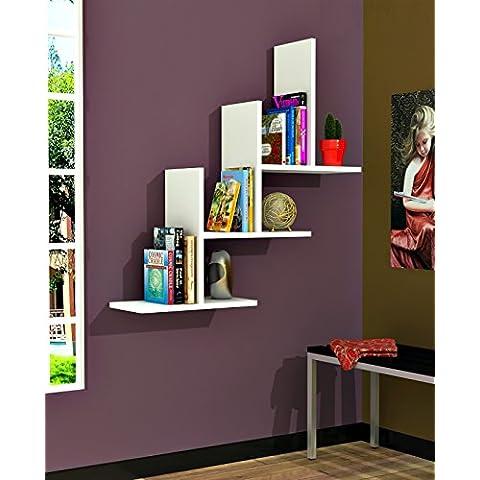 3T Mensola da muro - Bianco - Mensola Parete - Mensola Libreria - Scaffale pensile per studio / soggiorno in un design moderno