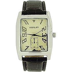 HENLEY Elegante Herrenarmbanduhr mit cremefarbenem Ziffernblatt und braunem Kroko-Effekt Armband H01003.5N