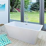 AcquaVapore freistehende Badewanne Wanne Acryl FSW02 170x80cm Armatur wählbar, Armatur:mit Armatur AFSW05 +190.-EUR