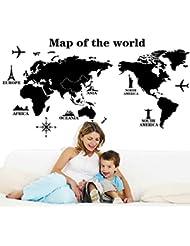 Guai Home Mapa del Mundo Banksy Vinilo Cotizaciones Pegatinas de Pared calcoman/ías para guarder/ía y Sala de ni/ños 116 cm 190 cm 95AB