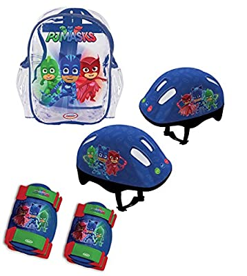 PJ Masks Children's OPJM004 Kid's Helmet/Knee/Elbow Pads and Bag Protection Pack, Deep Blue, S from Darpeje
