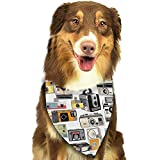 Strawberryran Ilustraciones de cámaras Vintage Fotografía analógica Bandana Triángulo Baberos Bufandas Accesorios para Mascotas Gatos y Cachorros