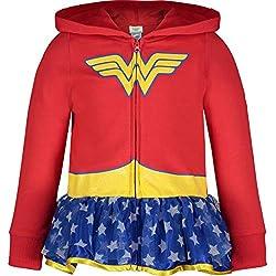 Wonder Woman Sudadera con Capucha Para Niñas Traje Ligero con Zipper Completo, Rojo 5 Años