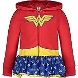 DC Comics Pull avec Capuche Wonder Woman - Sweat Zippé avec Volants avec Etoiles et Capuche imprimé - Fille, Rouge 6 Ans