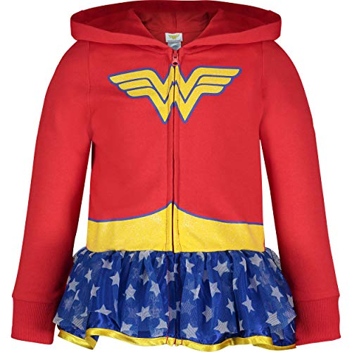 an Kostüm Hoodie für Mädchen und Kinder mit Tüll Rüschen und Reißverschluss, Rot/Blau 4 Jahre ()