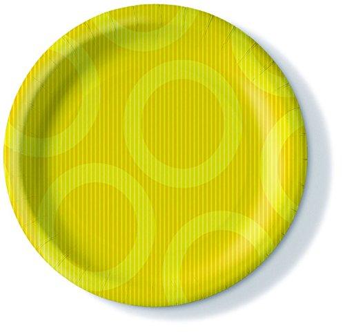 Pappteller Farbauswahl möglich Circle yellow - gelbe Kreise 350g/m², Ø23cm 10er Pack