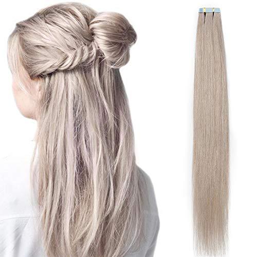 Extension adesive capelli veri biadesive biadesivo 20 ciocche tape in hair extensions 45cm 100% remy human hair umani naturali 50g # grigio