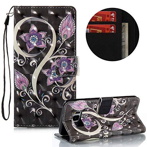 Gurt Lederhülle für Samsung Galaxy S8,Brieftasche für Samsung Galaxy S8,Moiky Stilvoll Luxuriös 3D Pfau Blume Muster Ständer Karten Slot PU Leder Etui Hülle