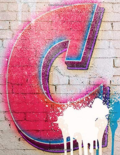 C: Monogram Initial C Notebook, Graffiti & White Brick Wall 8.5 x 11 - Wall Graphics Brick