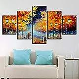 kxdrfz Tela HD Poster Poster Wall Art Home Decor Frame 5 Pezzi Camminare sotto la Pioggia Nightscape Paintings Color Tree Immagini astratte-Frame