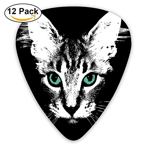 Digital Murky Kitten Portrait On Dark Background Mystic Animal Charm Creature Guitar Picks 12/Pack Set