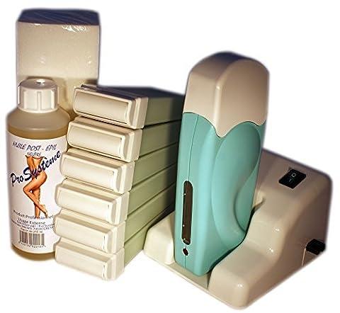 EPILWAX S.A.S - Kit D'Épilation Modulaire Complet À La Cire Jetable À L'Aléo Véra, avec Roulette Grand Modèle pour les jambes, aisselles, et le corps.