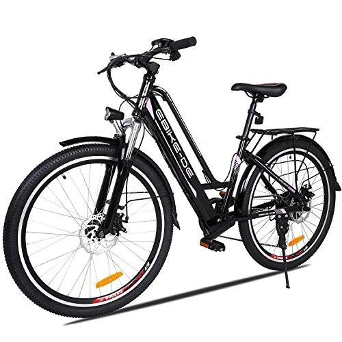 Mumiumius E-Mountainbike Damen und Herren E-Bike 26 Zoll Elektrofahrrad, E-Fahrrad mit 36V 8Ah Lithium-Ionen Batterien, 7 Gang Shimano Gangschaltung