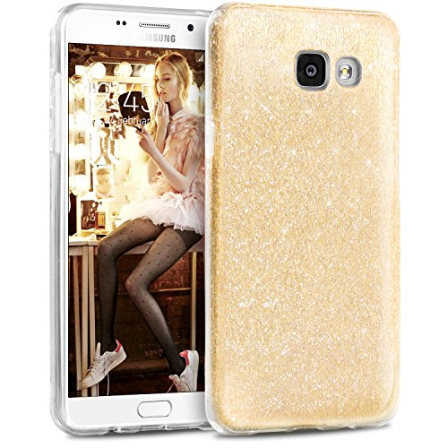 Coque Samsung A3 2016, TheBlingZ.® housse étui de protection [Hybrid Case] Etui de couverture Bling Bling avec brillants en TPU - Or Or