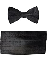 Mens Black Scroll Satin Cummerbund & Bow Tie Set