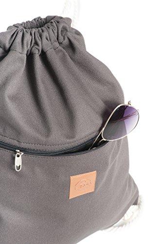 Original ♡ T-BAGS Thailand Turnbeutel Hipster | 18 coole Designs | mit Reißverschluss | Baumwoll Beutel mit hohem Tragekomfort (Grau) - 2
